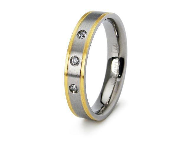 Women's Titanium Wedding Band with CZ