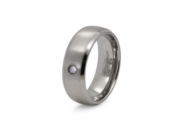 Titanium Satin Finished 8mm CZ Ring