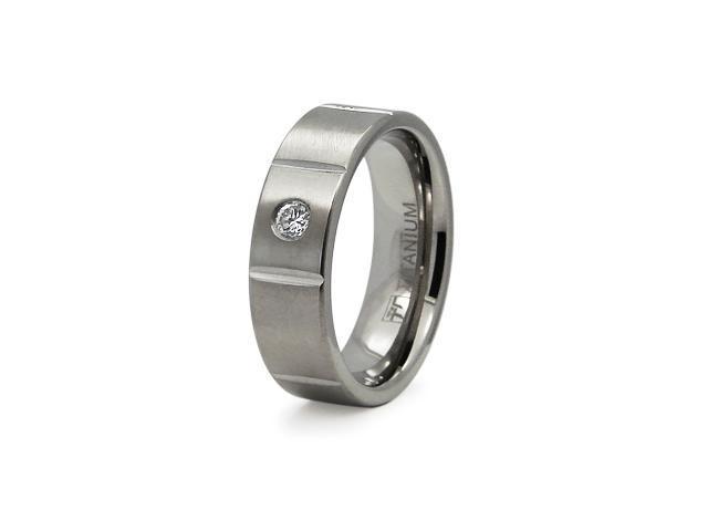 Titanium Grooved CZ Ring