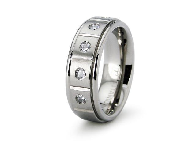 Ladies Titanium Wedding Band with CZ