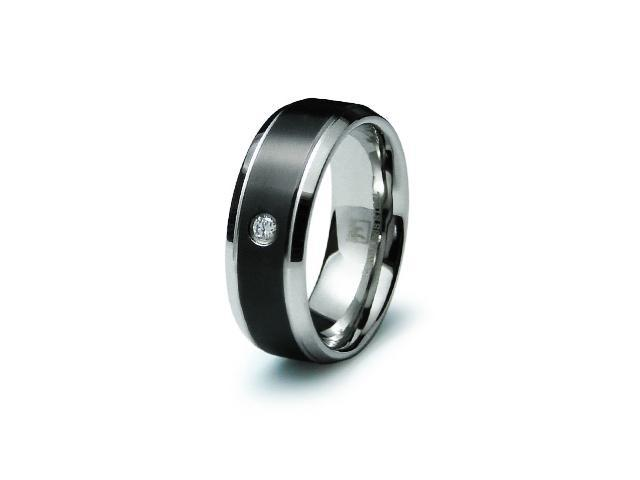 Stainless Steel Mens CZ Ring