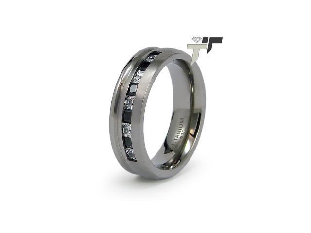 Titanium Black And White CZ Ring