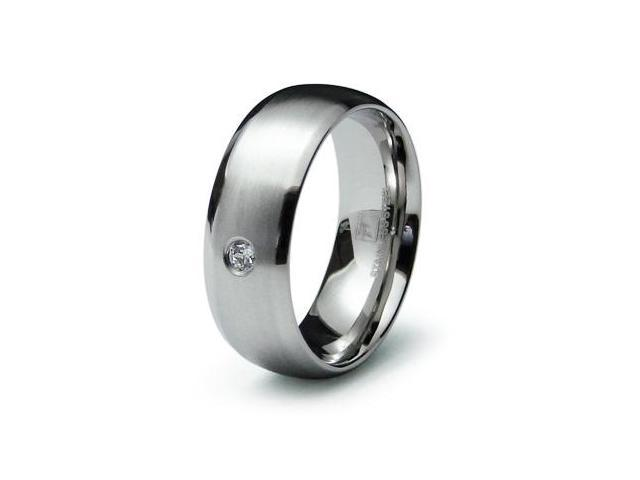Stainless Steel Mens Classic dome CZ Ring