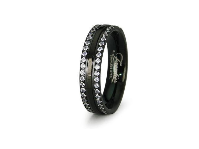 Black Stainless Steel Ladies Wedding Band
