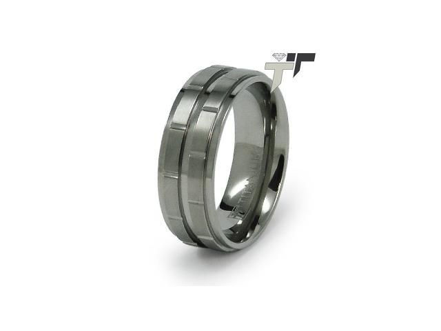 Titanium Grooved Wedding Band