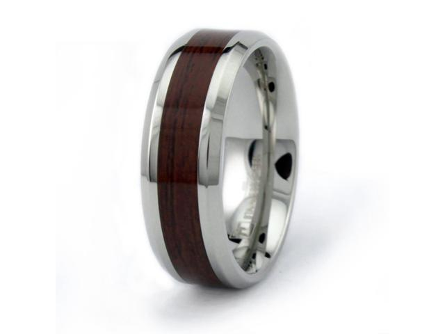 Stainless Steel Men's Ring w/ Wood Inlay