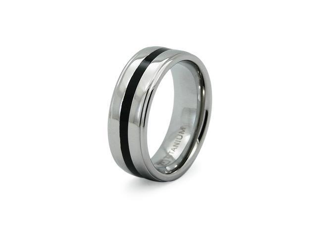 Black Ribbed Titanium Ring