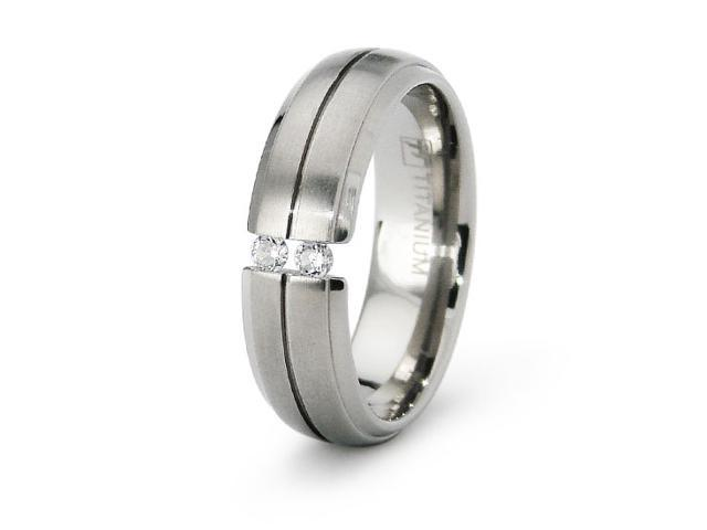 Ladies Titanium Tension Set Wedding Band