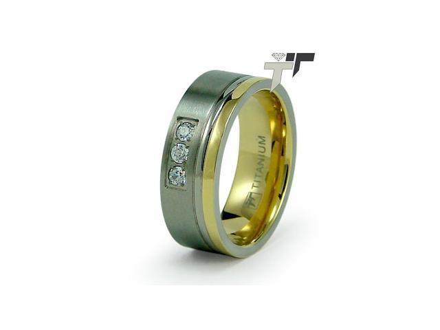 Titanium Golden Flat Wedding Ring