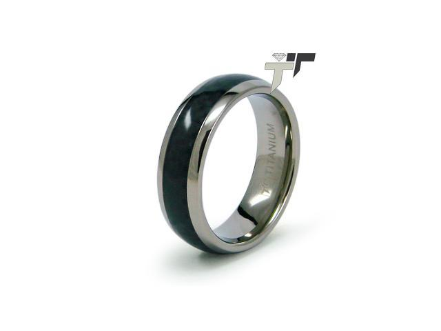 Titanium Carbon Fiber Inlay Men's Ring