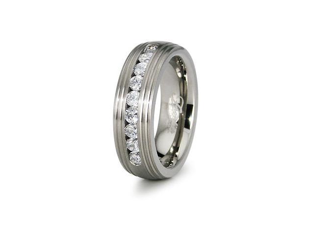Titanium Wedding Ring with CZ 8mm