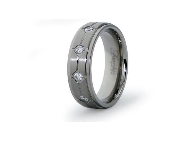 Titanium Wedding Ring with CZ 7mm