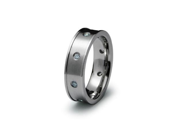 Stainless Steel Emboss CZ Ring