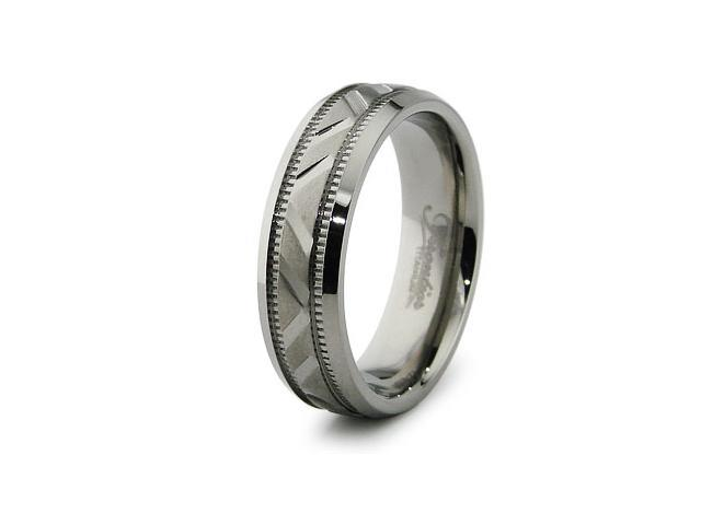 Diamond Cut Titanium Ring 6.5mm
