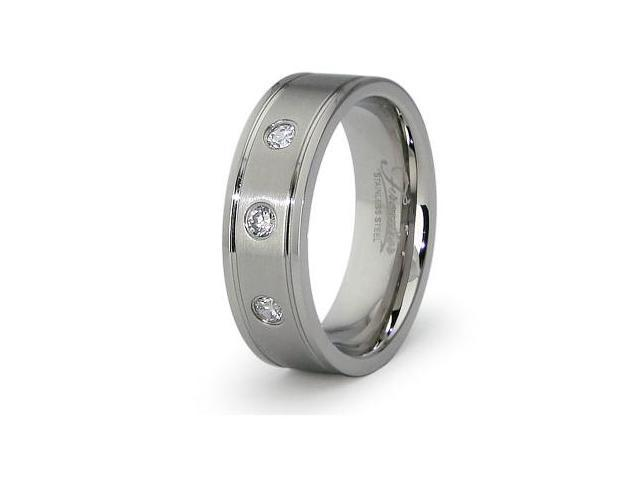 Stainless Steel Men's Ring w/ 3 CZ 7mm