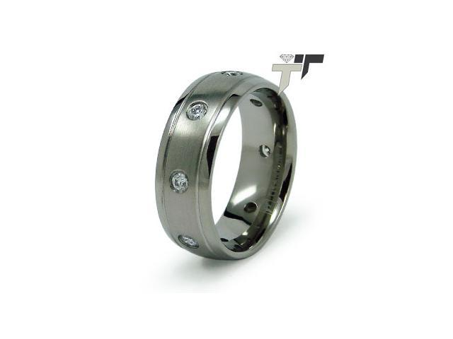 Titanium Wedding Band with CZ