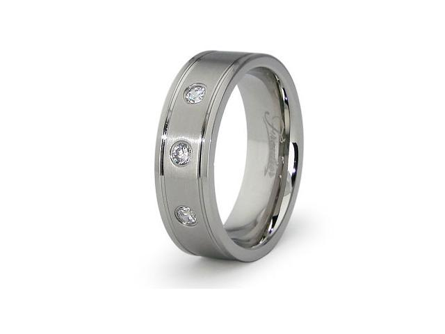 Titanium Men's Ring w/ 3 CZ