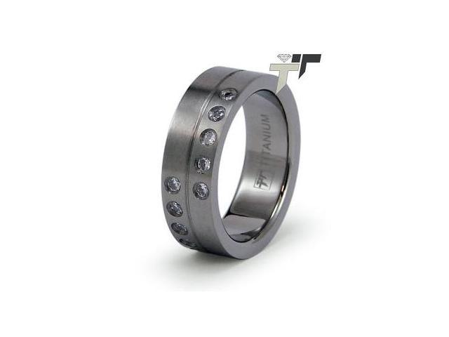 Titanium Ring with 10 Cubic Zoconia