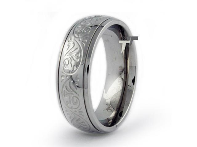 Stainless Steel Ring w/ Engraved Flower Design