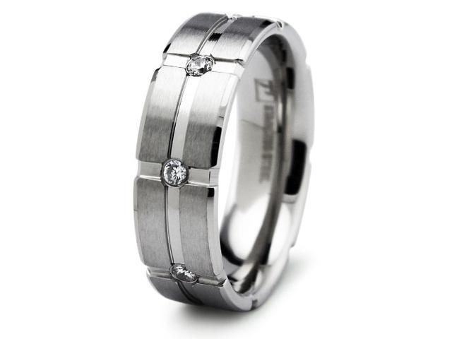 Men's Stainless Steel Ring with CZ