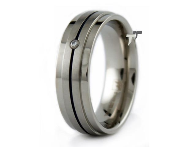 Stainless Steel Ring w/ Blue Line & CZ