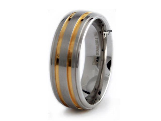 Stainless Steel Men's Ring w/ Gold Plated Lines 8mm