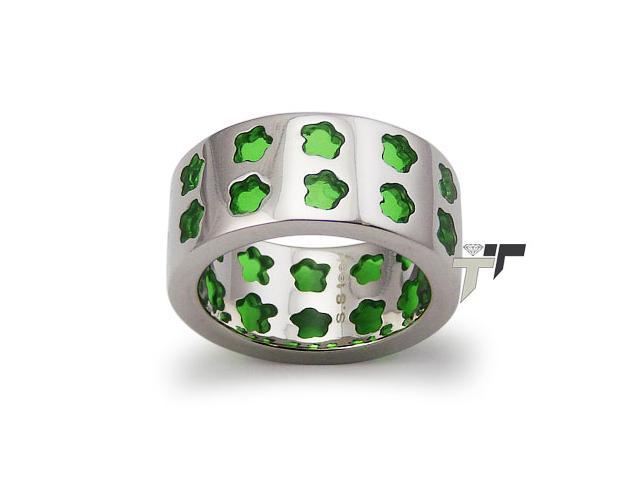 Stainless Steel Women's Ring w/ Green Resin Inlay