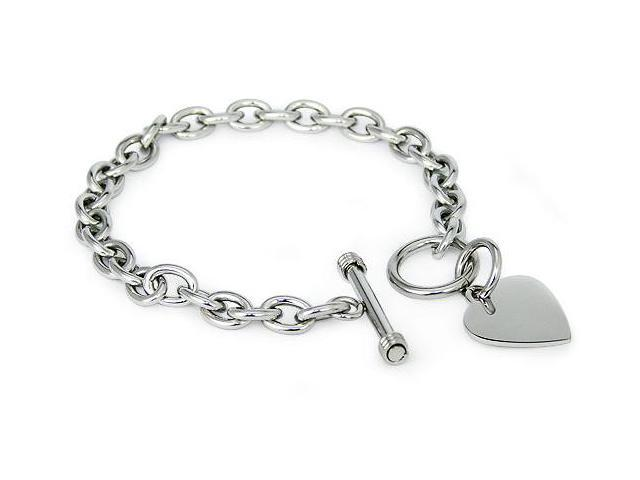 Stainless Steel Heart Tag Bracelet
