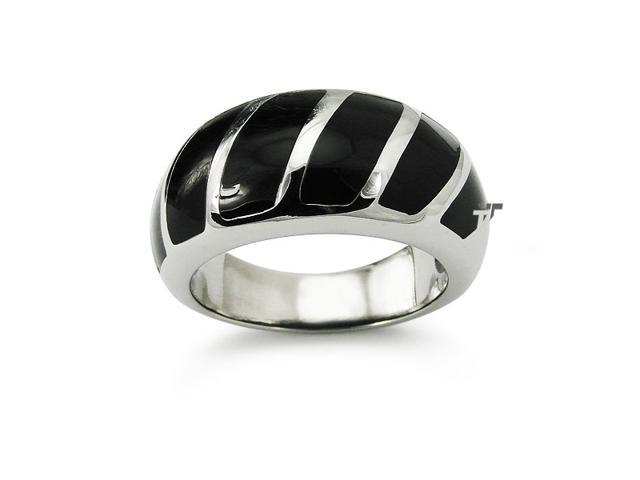 Stainless Steel Women's Ring w/ Color Resin Inlay