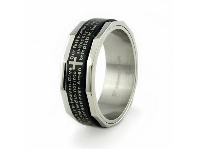 Stainless Steel Ring w/ 'Lord's Prayer' laser engrave