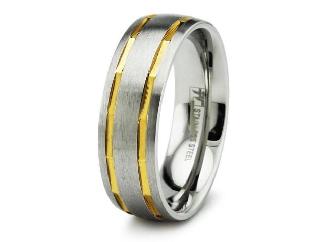 Two Tone Men's Stainless Steel Ring