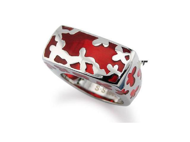 Stainless Steel Women's Ring w/ Red Resin Inlay