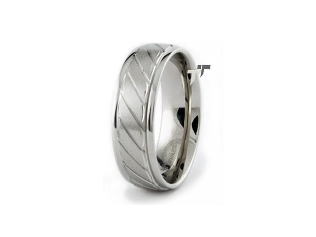 Stainless Steel Men's Groove Ring 8mm