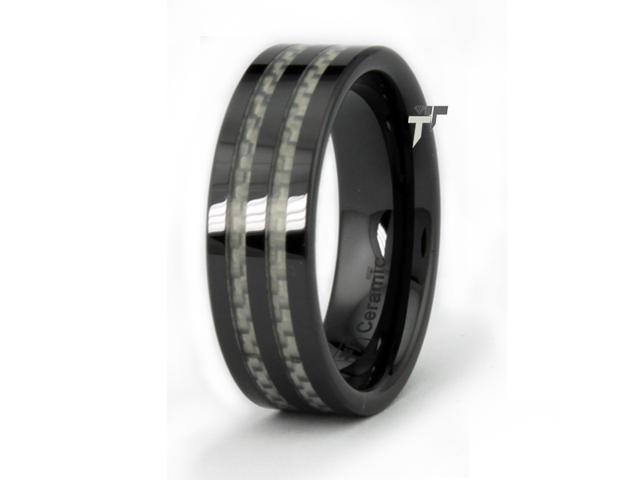 Black Ceramic Men's Ring w/ White Carbon Fiber Inlay