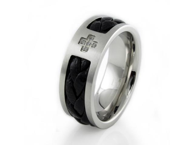 Stainless Steel Men's Cross Ring w/ Leather Inlay 9mm