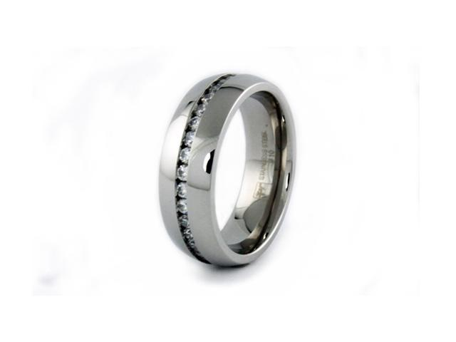 Men's Stainless Steel Wedding Ring w/ CZ's
