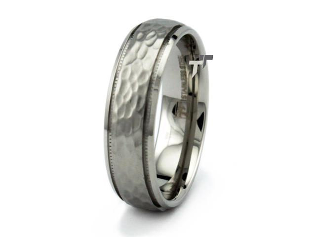 Stainless Steel Men's Hammered Ring 7mm