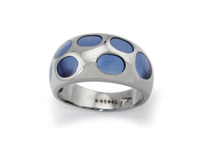 Stainless Steel Ladies Ring w/ Purple Resin Inlay