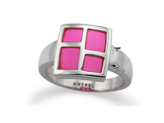Stainless Steel Ladies Ring w/ Pink Resin Inlay