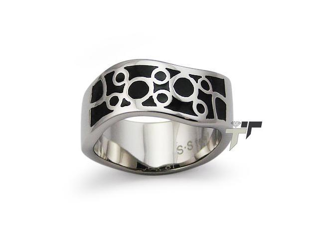 Stainless Steel Women's Ring w/ Black Resin Inlay