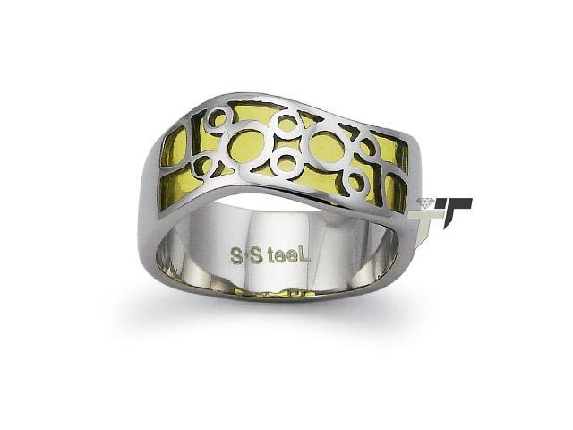 Stainless Steel Women's Ring w/ Yellow Resin Inlay