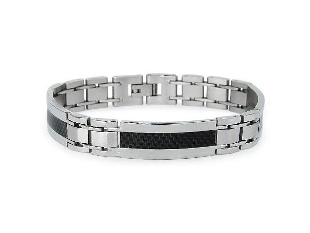 Stainless Steel Men's Link Bracelet w/ Black Carbon Fiber Inlay