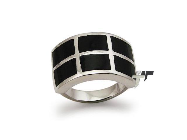 Stainless Steel Women's Ring w/ Black Resin Inlay