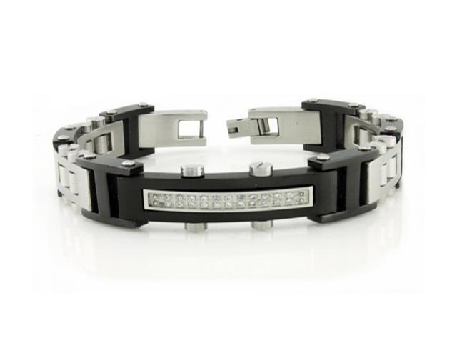 Stainless Steel Two Tone Bracelet w/ CZ