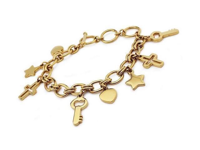 Gold Plated Stainless Steel Multiple Charm Bracelet