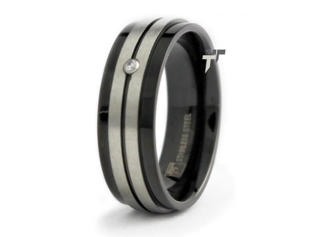 Black Stainless Steel Wedding Ring with CZ