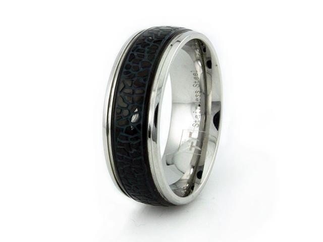 Stainless Steel Men's Ring w/ Black Enamel Inlay
