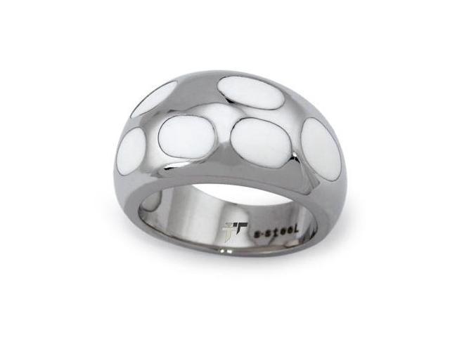 Stainless Steel Ladies Ring w/ White Resin Inlay