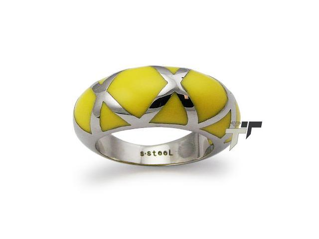 Stainless Steel Ladies Ring w/ Yellow Resin Inlay