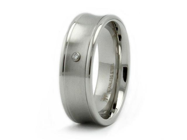 Stainless Steel Concave Ring with CZ
